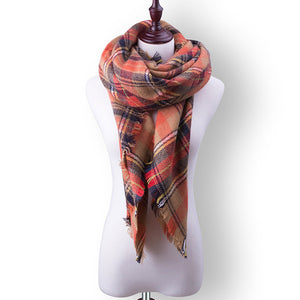 Plaid Fall or Winter Shawl Scarf. Orange multi-color plaid