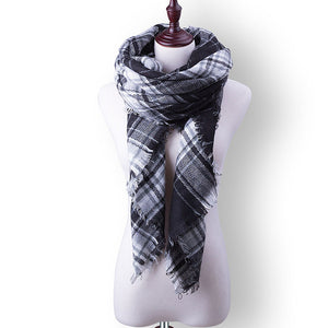 Plaid Fall or Winter Shawl Scarf. Black and white plaid