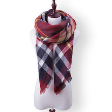 Plaid Fall or Winter Shawl Scarf. Rust, burgundy and blue plaid