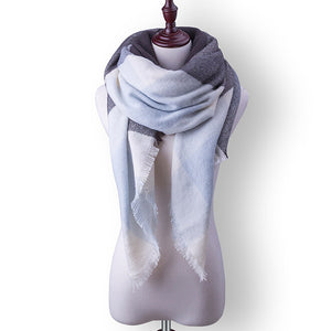 Plaid Fall or Winter Shawl Scarf. Grey, blue and white plaid