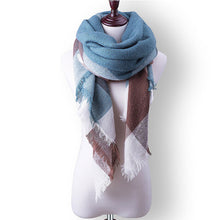 Plaid Fall or Winter Shawl Scarf. Blue, brown and white plaid