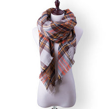 Plaid Fall or Winter Shawl Scarf. Brown, yellow, orange and white plaid