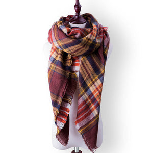 Plaid Fall or Winter Shawl Scarf. Burgundy, orange and navy plaid