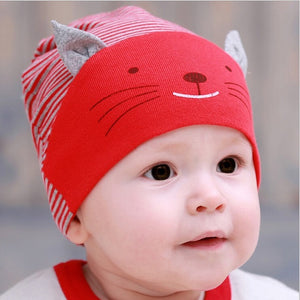 cute cat beanie cap for infants red