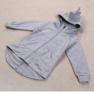 grey kid's Fall jacket with dinosaur style fabric spikes