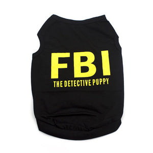 black dog coat with FBI The Detective Puppy saying