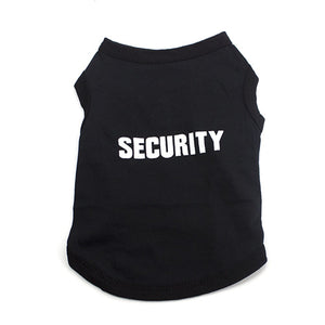 black dog coat with Security saying