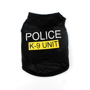 black dog coat with FBI K-9 saying