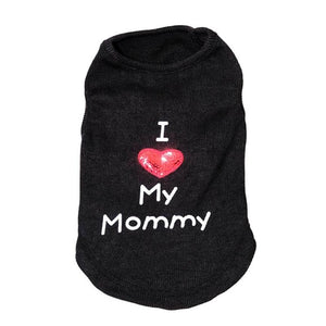 black dog coat with I Heart My Mommy saying