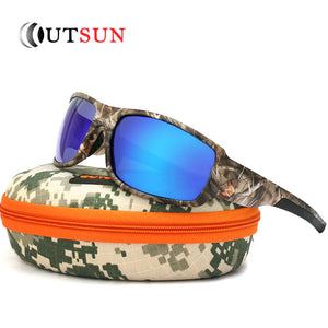 Mirrored Polarized Sunglasses with Camouflage Pattern Frame - 100% UV Protection