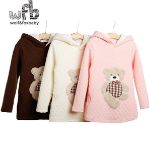 girl's Fall sweater with hood. cute teddy bear design