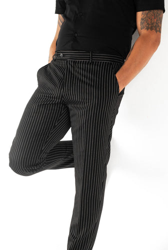 Black and white pinstripe trousers/pants