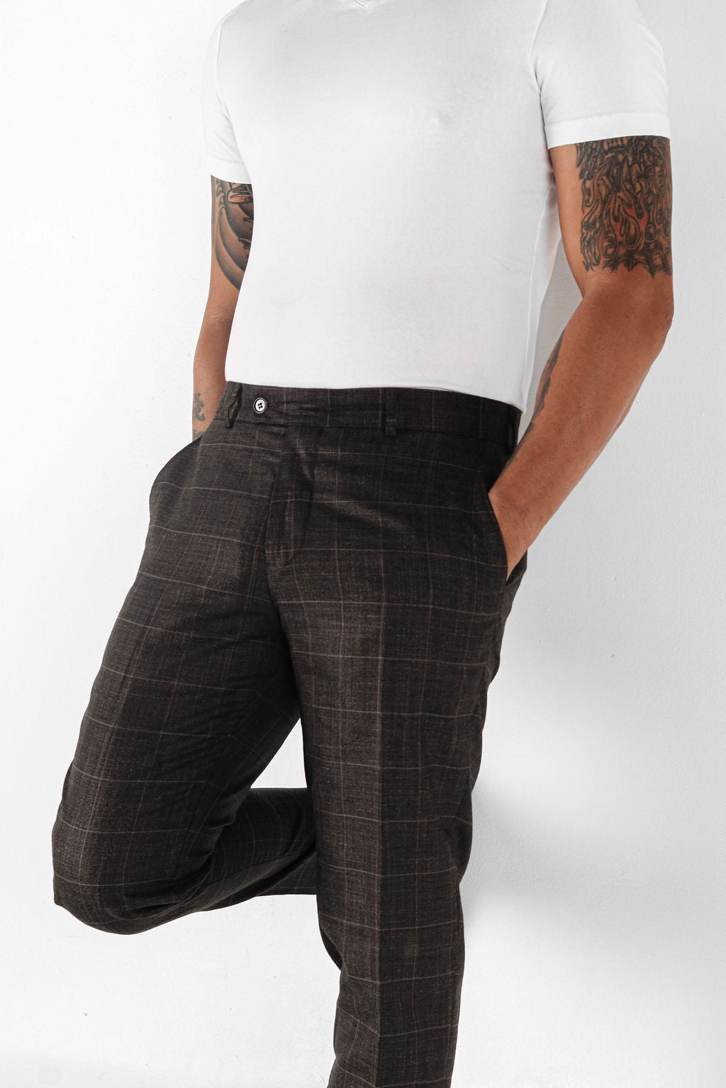 Brown plaid modern fit pants