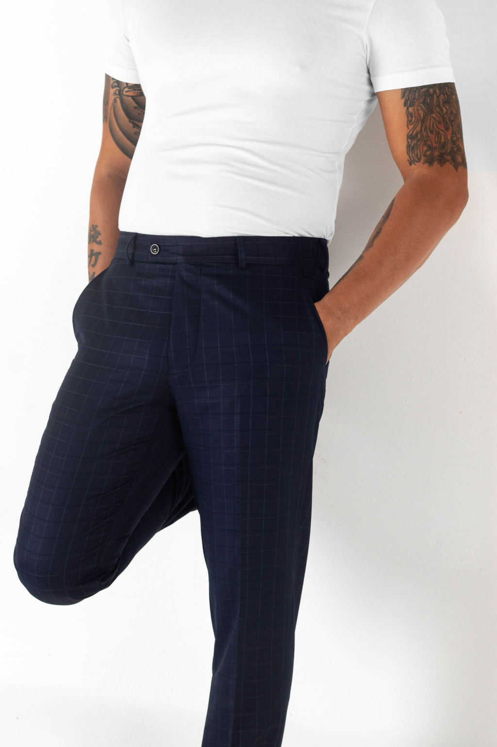Navy pants, Navy Trousers, Thin Plaid Stripes