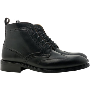 Double side view Black Winged Leather boot The Cruz Boot in Black