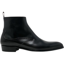 Black leather chelsea style boots The Rico