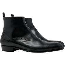 Double side view; black leather chelsea boot The Rico Boot