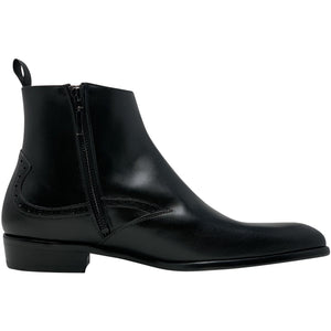 Single side zipper view; chelsea style boot in black, The Rico