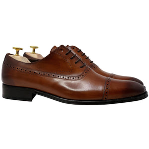 Mens brown leather shoes, brogue design, no medallion
