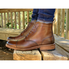 mens leather brown boots handmade from Spain with denim jeans