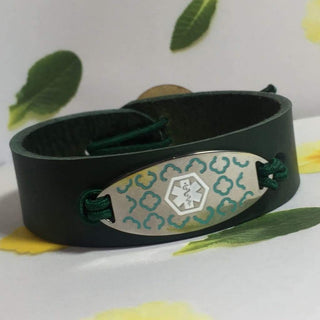 buyamedicalalert.com Personalised Leather Antonia Medical Alert ID Bracelet