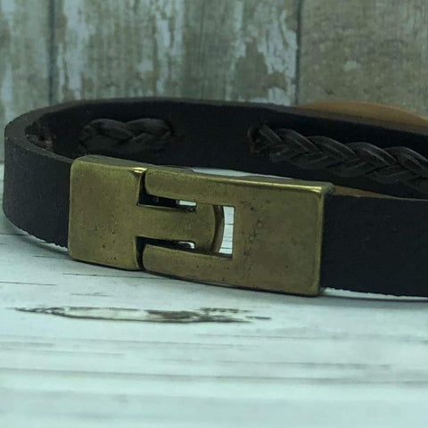 buyamedicalalert.com Bailey Leather Medical Alert ID Bracelet - Personalised