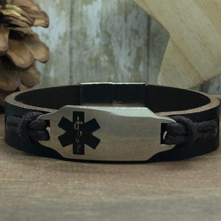 buyamedicalalert.com Personalised Leather Cori Medical Alert ID Bracelet