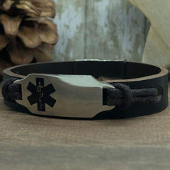Cori Leather Medical Alert ID Bracelet - Personalised