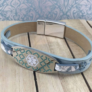 buyamedicalalert.com Personalised Leather Era Medical Alert ID Bracelet