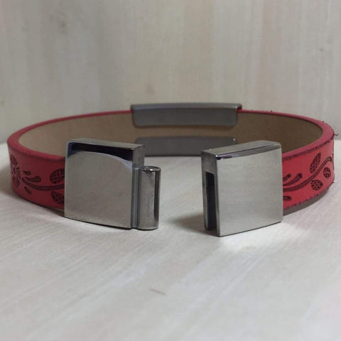 buyamedicalalert.com Personalised Leather Forrest Medical Alert ID Bracelet