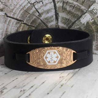 buyamedicalalert.com Personalised Leather Francis Medical Alert ID Bracelet
