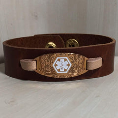 Jenner Leather Medical Alert ID Bracelet - Personalised
