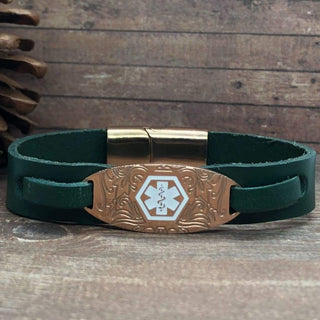 buyamedicalalert.com Personalised Leather Wakley Medical Alert ID Bracelet