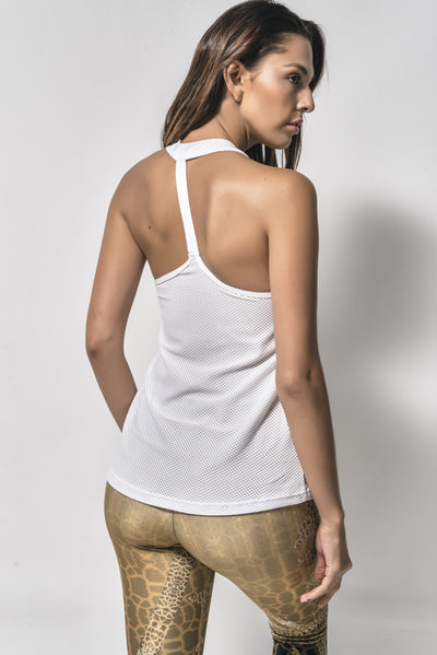 COTILU ACTIVEWEAR ˆ• SINGLE LACED-BACK TOP (WHITE)