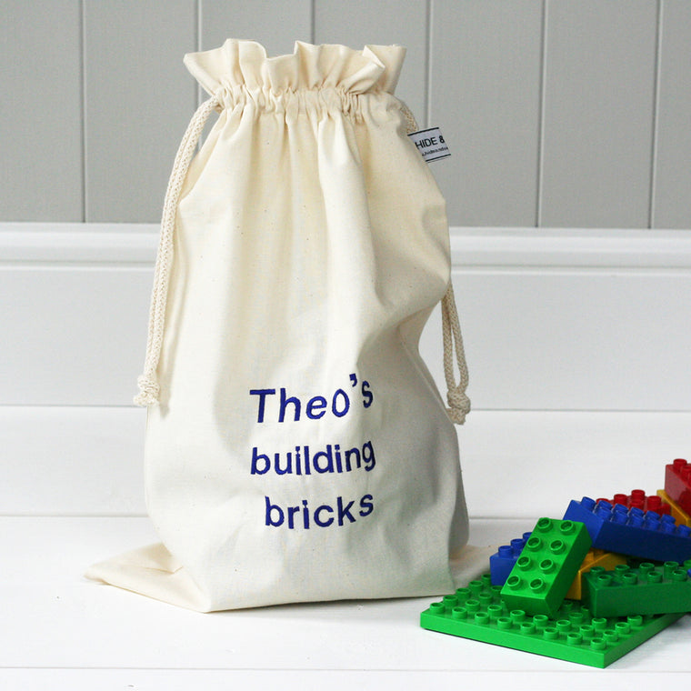 Personalised 'Little Building Bricks' Travel Sack - HIDE & SEEK TEXTILES