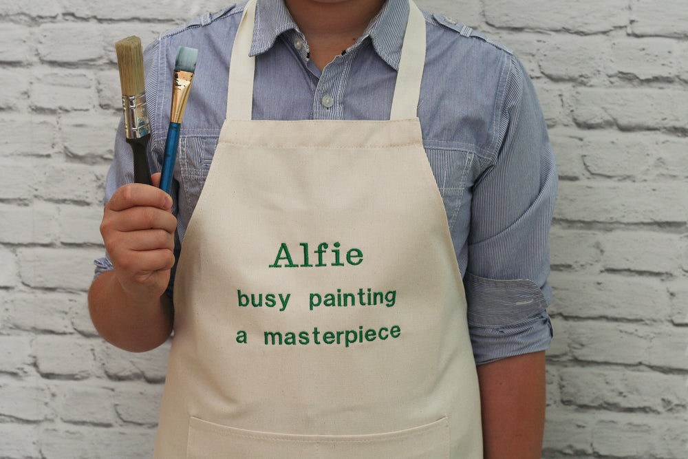 Personalised 'Busy Painting' Child's Apron - HIDE & SEEK TEXTILES
