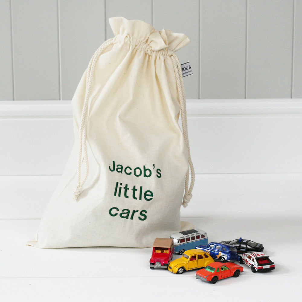 Personalised 'Little Cars' Travel Sack - HIDE & SEEK TEXTILES