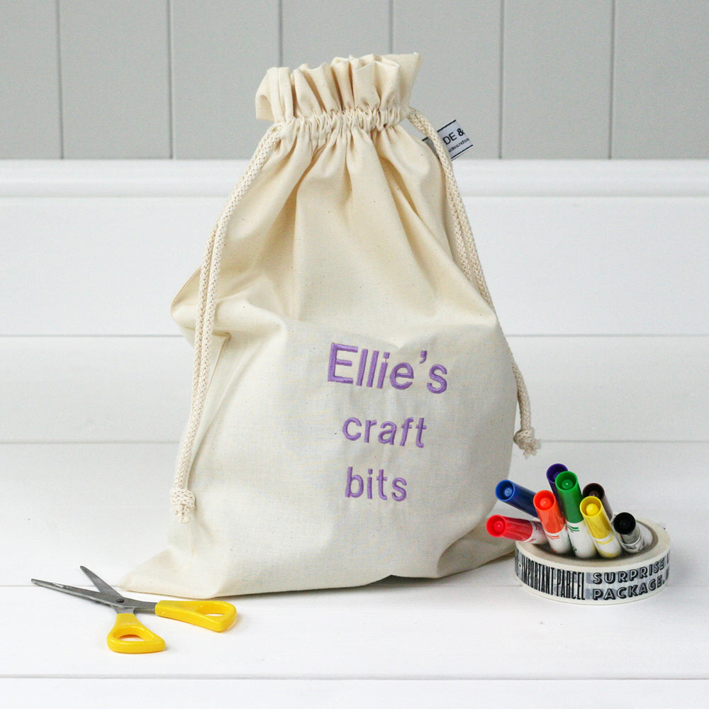 Personalised 'Little Craft Bits' Travel Sack - HIDE & SEEK TEXTILES