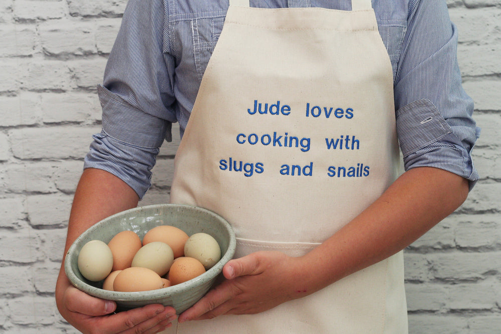 Personalised Boy's 'Slugs And Snails' Apron - HIDE & SEEK TEXTILES
