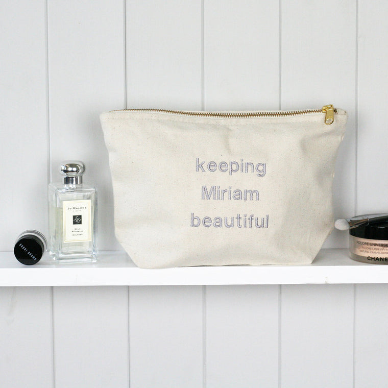 Personalised 'Keeping … Beautiful' Zip Make Up Bag - HIDE & SEEK TEXTILES