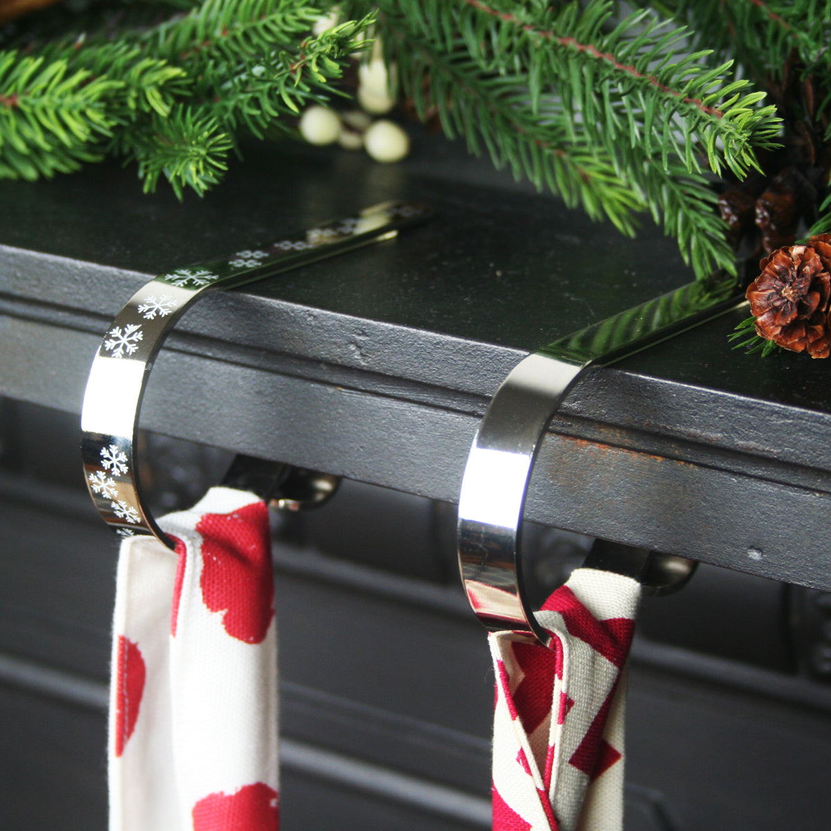 Mantle Clip For Christmas Stockings Shiny Silver Hide Seek Textiles