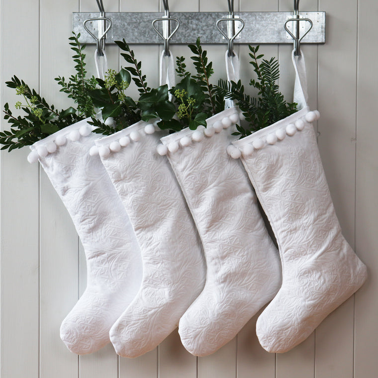 Pure White Christmas Santa Stocking