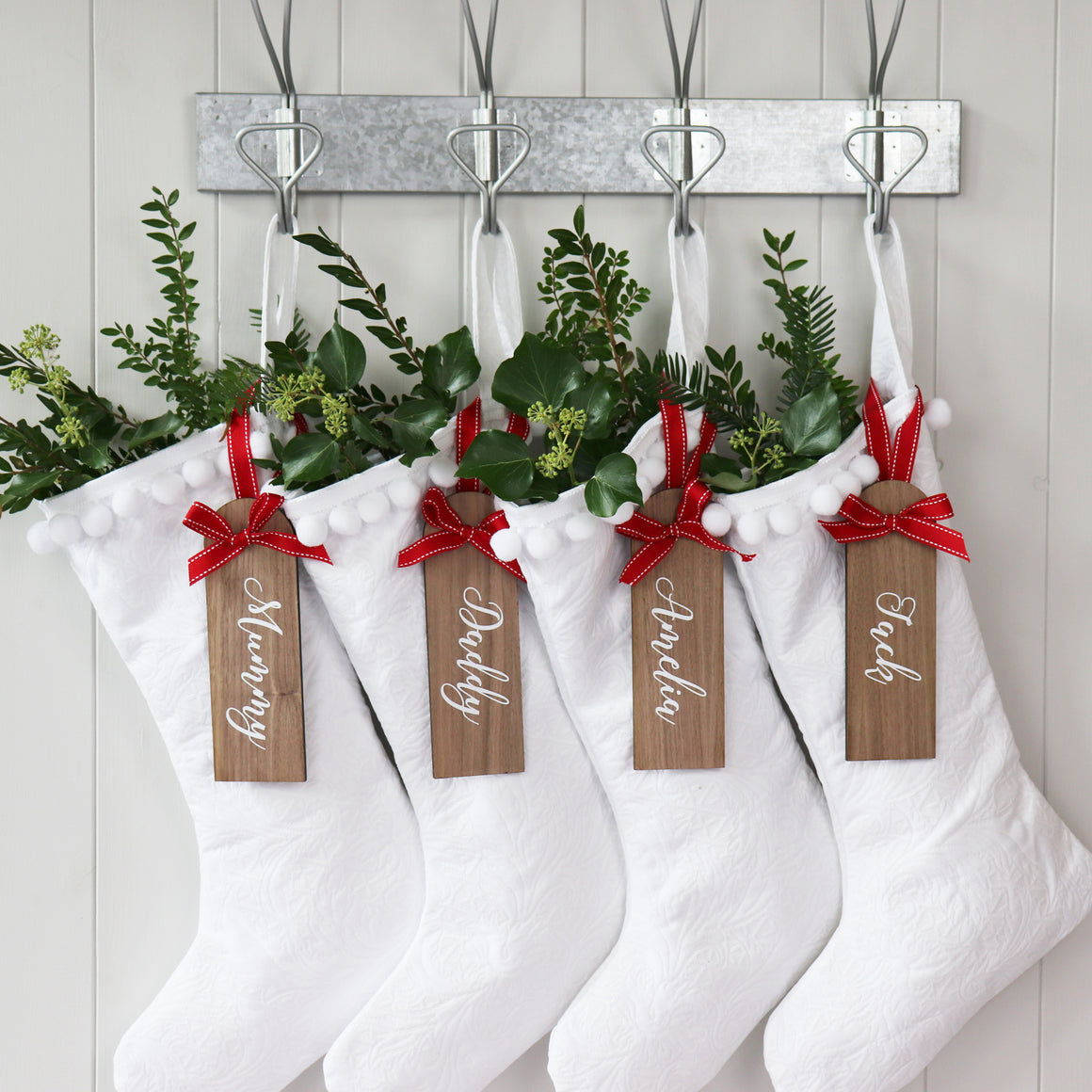 Pure White Santa Stocking With Personalised Wooden Tag