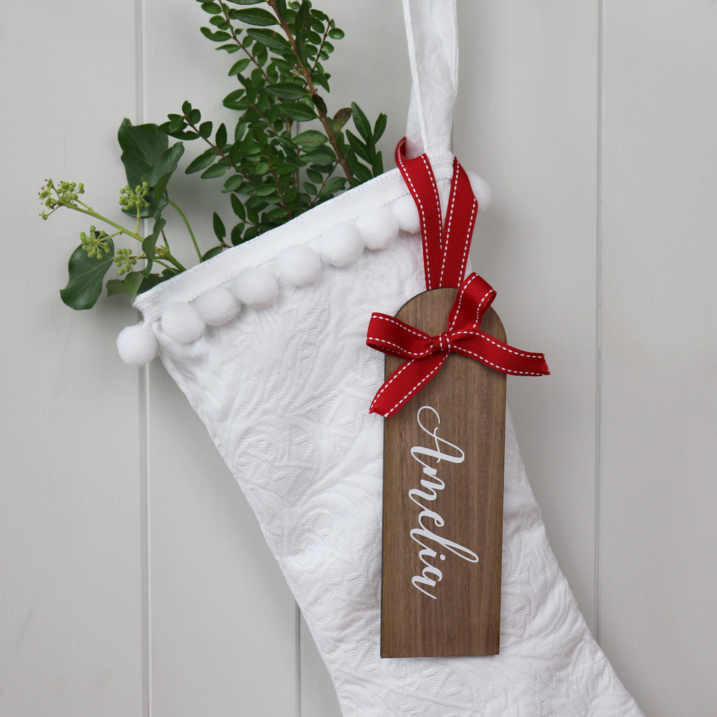 Personalised Wooden Christmas Stocking Name Tag