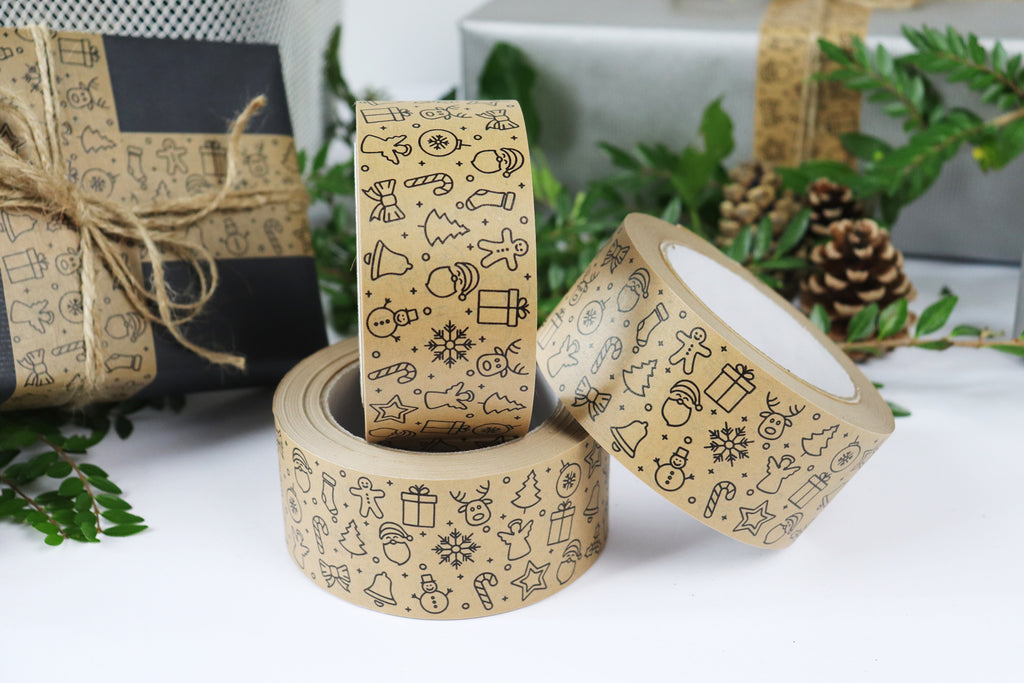 Printed Christmas Kraft Tape 50m Roll