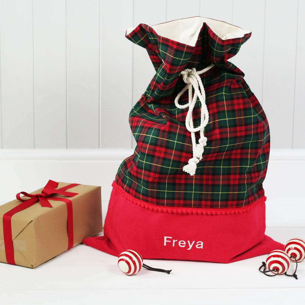 Personalised Santa Sack GREEN TARTAN