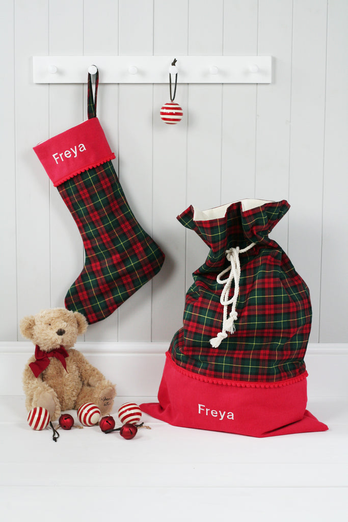 Personalised Christmas Stocking and Santa Sack Set GREEN TARTAN