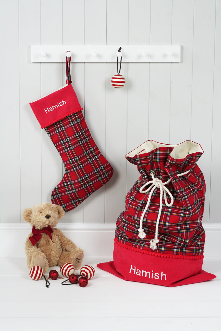 Personalised Christmas Stocking and Santa Sack Set ROYAL STEWART TARTAN