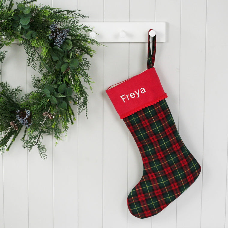 Personalised Christmas Stocking GREEN TARTAN