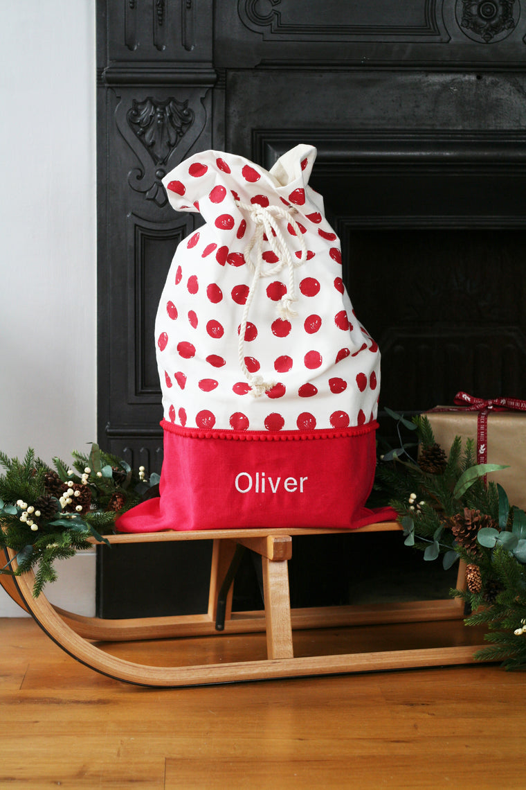 Personalised Santa Sack RED SPOTS - HIDE & SEEK TEXTILES